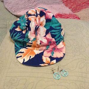 Vintage 80's Bundle - Hat, Peace Earrings